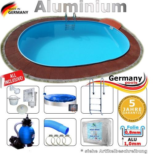 Alu Schwimmbecken 8,0 x 4,0 x 1,25 Swimmingpool Komplettset