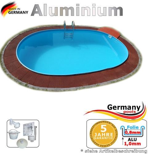Aluminium Ovalpool 7,40 x 3,50 x 1,50 m Einbaupool Alu