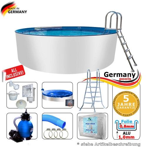 Aluminium-Schwimmbecken 3,50 x 1,50 m Pool Komplettset
