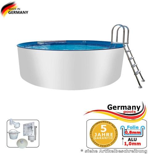 Alupool 4,50 x 1,25 m Alu-Rundbecken Alu-Rundpool Aluminium-Pool