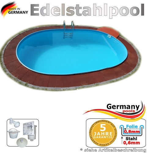 Edelstahlpool oval 550 x 360 x 125 cm Ovalbecken Pool