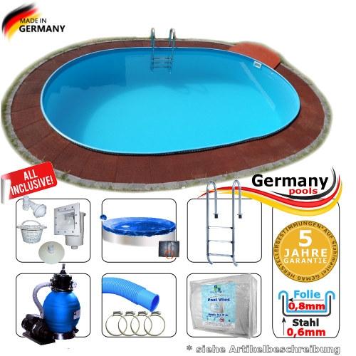 Pool oval 4,50 x 3,00 x 1,20 m Komplettset