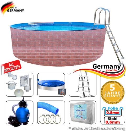 Poolset 4,2 x 1,2 m Gartenpool Rund Pool Komplettset
