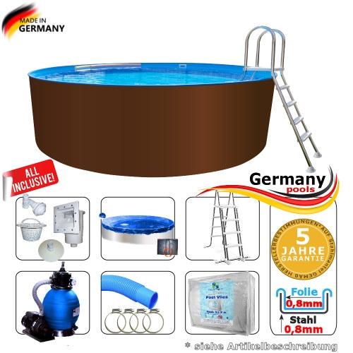 Stahl Pool 600 x 125 cm Set