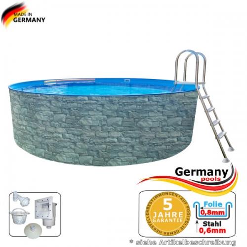 Stone Pool 3,60 x 1,20 Stahlwandpool Stein Optik Aufstellpool