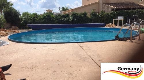 Stahl pool set 640 x 125 cm set komplettset 6 4 for Gunstige poolsets