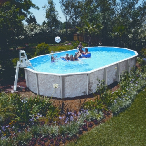 Stahlwandpool oval 6,10 x 3,60 x 1,32 m Center Pool freistehend Set ...