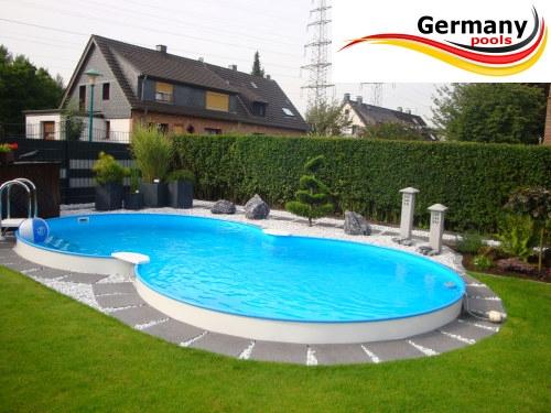 Achtform swimmingpool 7 25 x 4 60 x 1 25 m set pool net for Gunstige poolsets