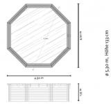 Holzpool 5,30 x 1,33 m Holzbecken Pool rund Schwimmbecken Set