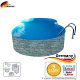 Achtformbecken Stein-Optik 8,55 x 5,0 x 1,2 Achtform-Pool Stone