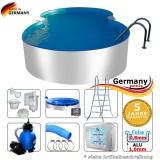 Aluminium-Achtformpool 5,25 x 3,20 x 1,25 m Komplettset Alu-Pool