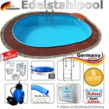 Edelstahl Ovalpool 8,0 x 4,0 x 1,25 m Einbau Pool oval Komplettset