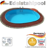 Edelstahlpool oval 730 x 360 x 125 cm Ovalbecken Pool