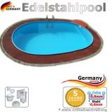 Edelstahlpool oval 870 x 400 x 125 cm Ovalbecken Pool