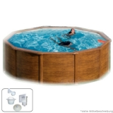 Holzpool 300 x 120 Holz Optik Set