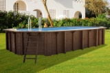 Holzpool 6,40 x 4,00 x 1,33 m oval Holzbecken Pool Set