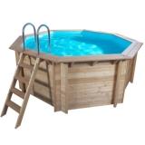 Holzpool 6,55 x 1,33 m Holzbecken Pool rund Schwimmbecken Set