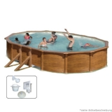 Holzpool Oval 730 m x 375 x 120 Set Holz Optik