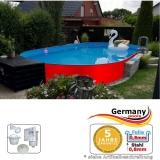 Ovalpool Rot 630 x 360 x 125 cm