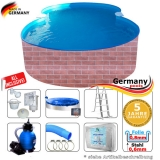 Pool achtform 6,25 x 3,60 x 1,20 Achtformbecken Set