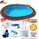 Pool oval 6,30 x 3,60 x 1,20 m Komplettset