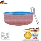 Schwimmingpool 5,0 x 1,2 Ziegel-Optik Stahlwand Pool rund