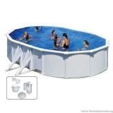 Stahlwandpool 7,30 x 3,75 x 1,20 m Breiter Handlauf Pool Set
