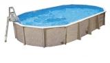 Stahlwandpool oval 12,50 x 6,40 x 1,32 m Center Pool freistehend Set