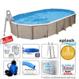 Stahlwandpool oval 6,10 x 3,60 x 1,32 m Center Pool freistehend Set