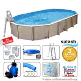 Stahlwandpool oval 7,30 x 3,60 x 1,32 m Center Pool freistehend Set
