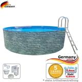 Stone Pool 7,30 x 1,20 Stahlwandpool Stein Optik Aufstellpool