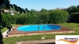 Ovalbecken Elfenbein 6,23 x 3,6 x 1,25 m Komplettset
