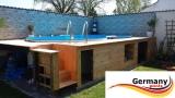 Achtformpool-Holz-Design 4,70 x 3,00 x 1,20 Dark Holz-Muster Set