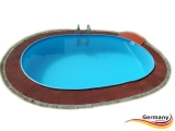 Ovalbecken Rot 6,1 x 3,6 x 1,25 m Komplettset