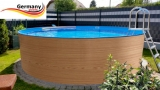 Holzpool 6,00 x 1,20 Dekor Holz Design Aufstellpool Holz-Optik