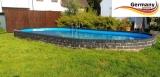Edelstahlpool oval 715 x 400 x 125 cm Ovalbecken Pool